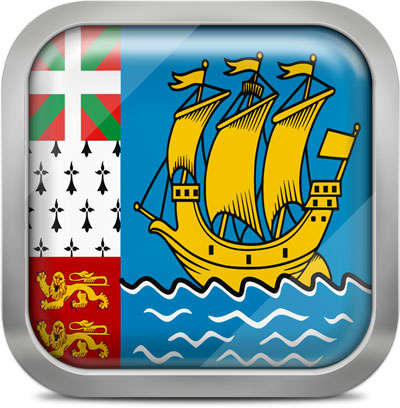 Saint Pierre and Miquelon square flag with metallic frame