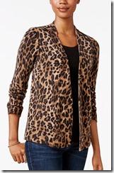 Charter Club Cashmere Leopard Print Cardigan
