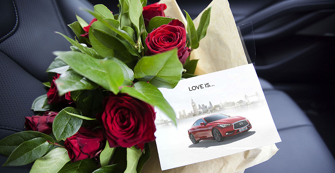 INFINITI Q60 surprises its customers with roses on Valentine's Day