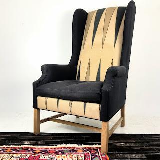 Custom High WIng-Back Backgammon Armchair