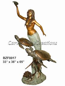 Bronze, Fountain, Mermaid, Statue, Turtles