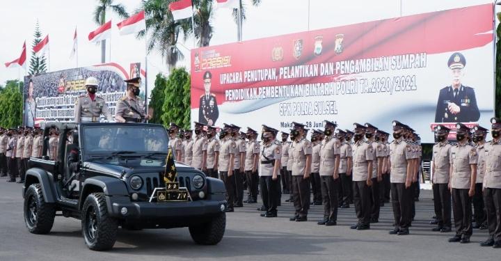 Kapolda Sulsel Pimpin Upacara Pelantikan Bintara Lulusan Diktukba Polri T.A 2020-2021 di SPN Polda Sulsel