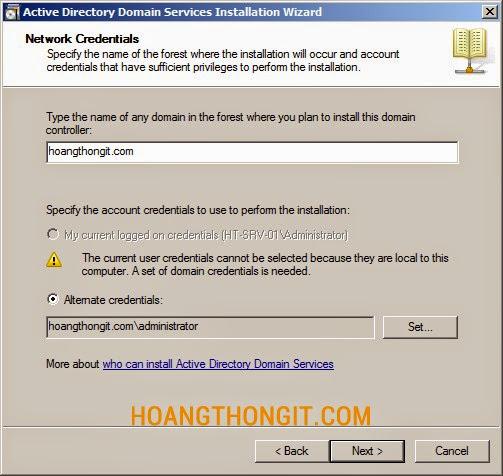 Cài đặt Additional Domain Controller trên Windows server 2008