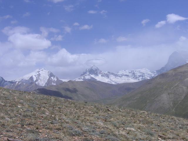 Au dessus de Barchid, 4500 m, au Sud de Jawshangoz. Biotope de : Z. (A.) pamira, Colias marcopolo, C. alpherakyi. À l'arrière plan : à gauche Pic Karl Marx (6723 m), à droite Pic Engels (6507 m). Photo : Jean-François Charmeux
