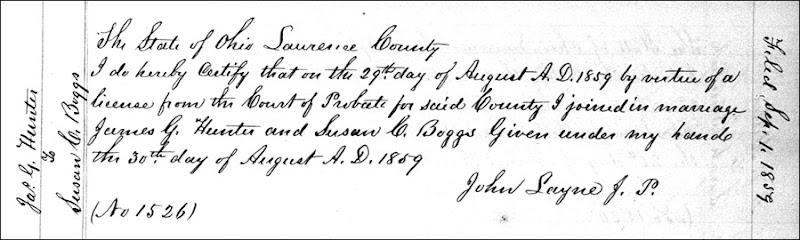 BOGGS_Susan marriage to James Hunter_1859
