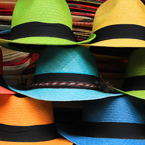 Colorful Handmade Panama Hats by Robert Hamm - Artistic Objects Clothing & Accessories ( panama hat, otavalo, craft, market, ecuador, colorful, color, outdoor, woven, shape, material, straw hat, hat,  )