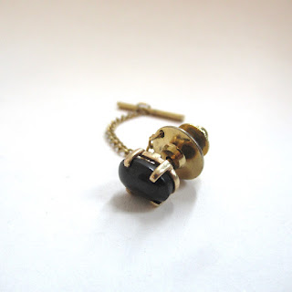 14K Gold and Stone Tie Tack