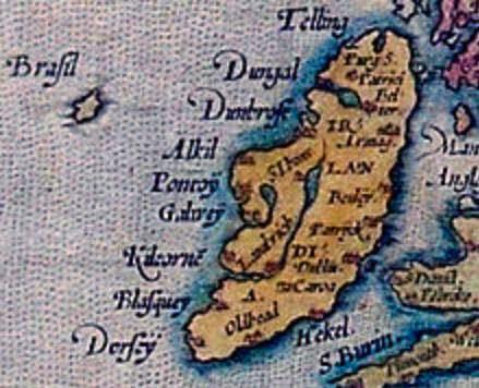 Detalhe de mapa europeu de 1572
