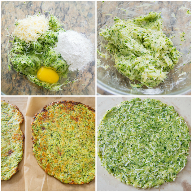 step by step photos of how to make the zucchini pizza crust