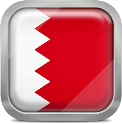 Bahrain square flag with metallic frame