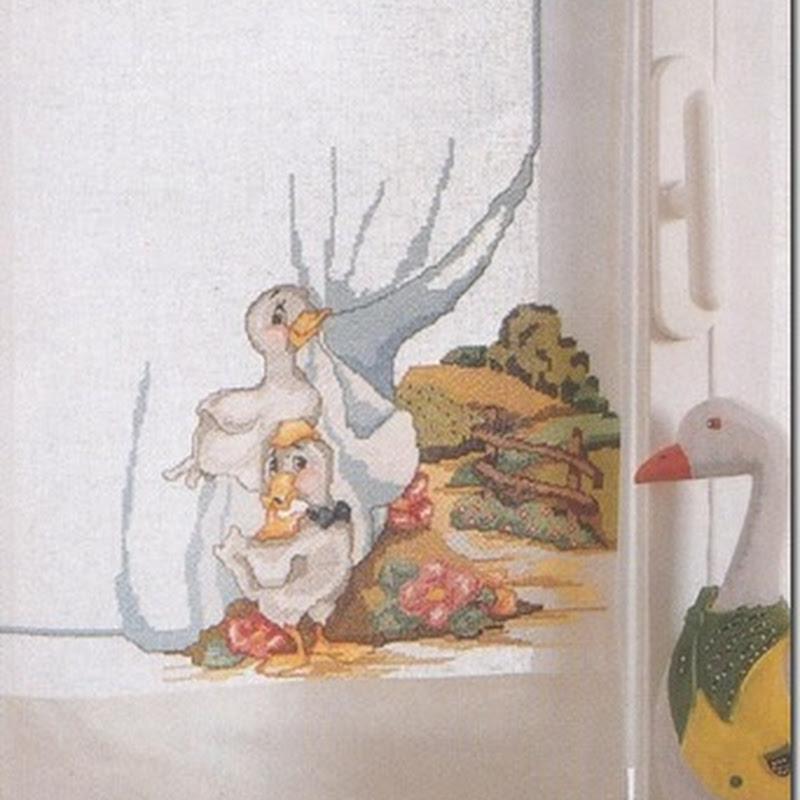 Pato,  Cortina el punto de cruz esqemas