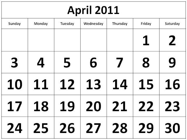 printable april 2011 calendar with holidays. CALENDAR TEMPLATE APRIL 2011