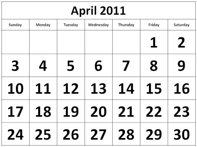 april 2011 calendar with holidays printable. march and april 2011 calendar