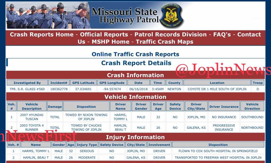 Joplin News First: CRASH REPORT - COYOTE DRIVE - JUNE 16
