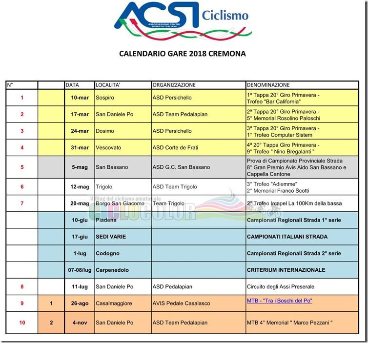 2018-01-01 ACSI - Calendario Strada e MTB 2018 ACSI Provincia di Cremona - Lombardia