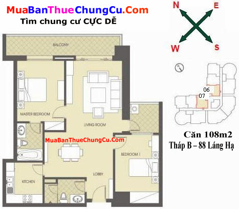 Thiết kế căn hộ 108m2 Chung cư 88 Láng Hạ tháp B
