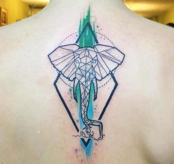 Legal esse geométricas elefante tatuagem