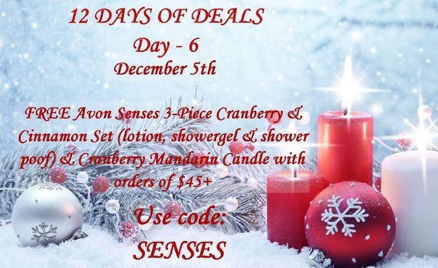 December 5  Free candle and Avon Senses 4-piece bath set with any $45+ order CODE: SENSES at https://maryvjjj1.avonrepresentative.com/