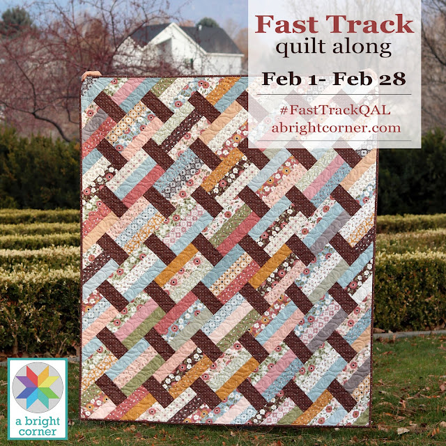 Fast Track quilt along with A Bright Corner - perfect jelly roll or layer cake quilt pattern
