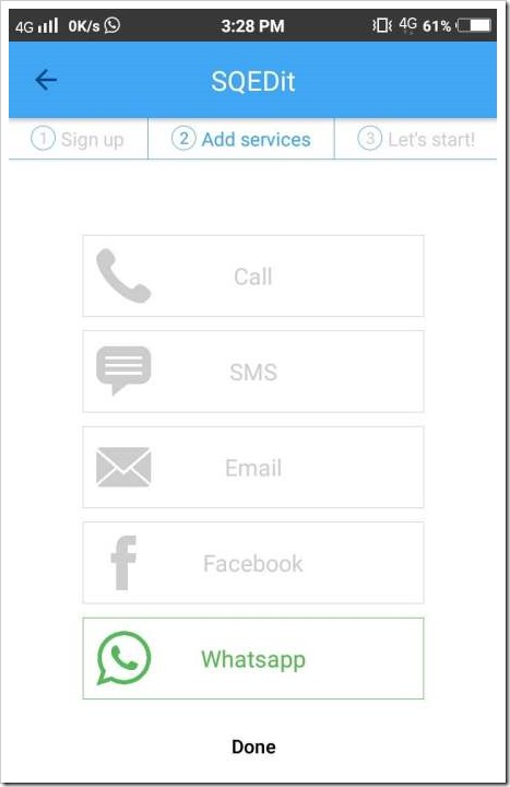 choose whatsapp service in sqedit app to schedule its messages