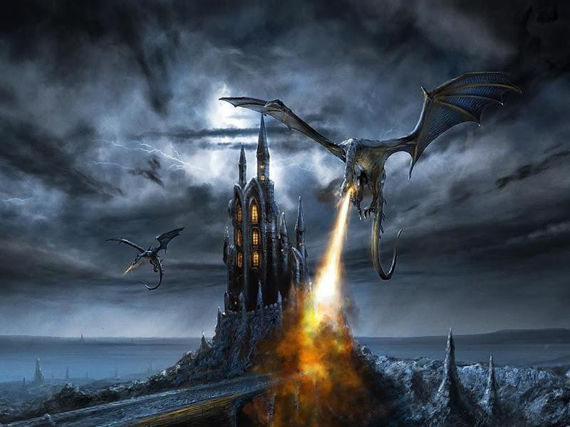 Dragon Burns A Castle, Dragons