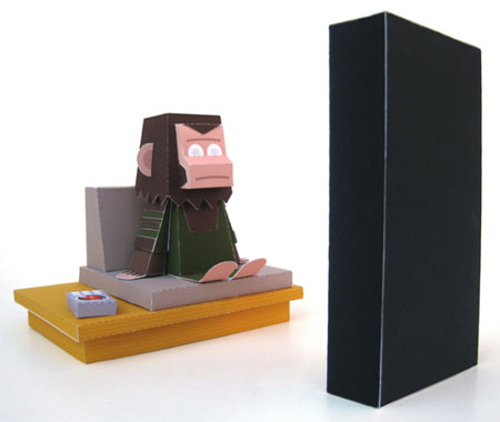 Monkey Meets Monolith Paper Toy Scene