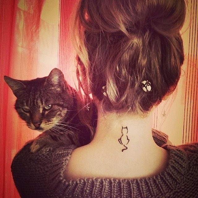Lovely Cat Tattoo Design on Neck for Girls