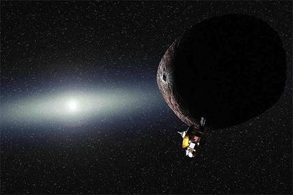 ilustração do objeto 2014 MU69 e a sonda New Horizons