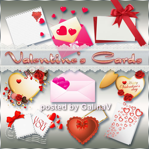 Valentine's Cards PNG Love Hearts