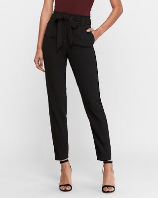 elegant black paperbag pants