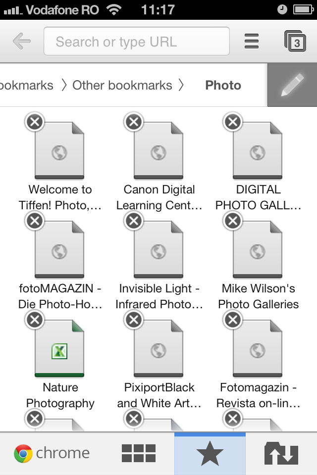 Chrome iOS edit bookmarks
