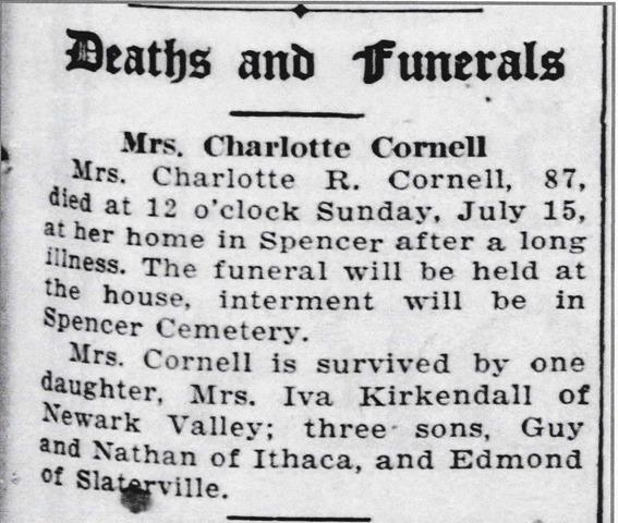 Cornell Charlotte 1928 obit 2