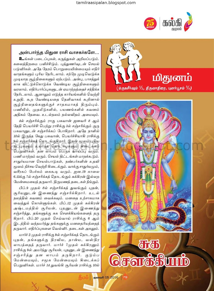 Deepam 2016-2017 New Year and Rahu Kethu Transit Mithunam
