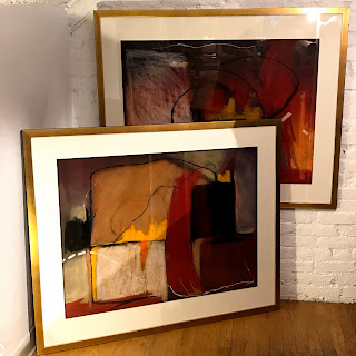 Pat Ross Marx Signed Oil Pastel Diptych