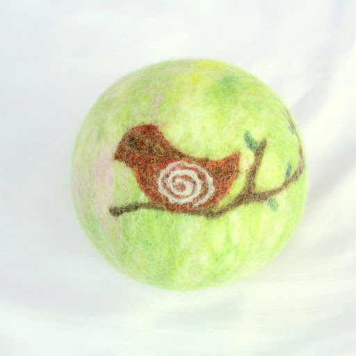 "Wool felted ball ""bird on a branch"""