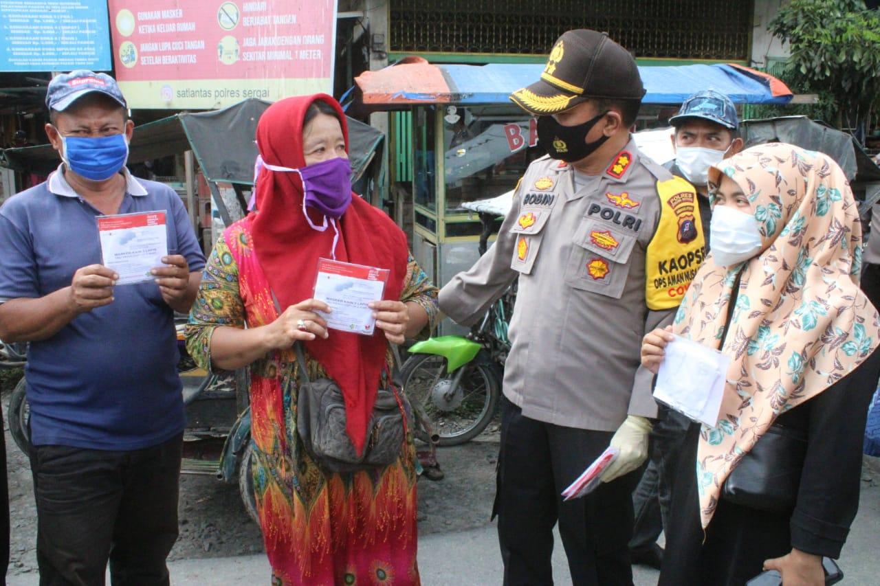 Sosialisasikan Prokes, Kapolres Serdang Bedagai Pimpin Operasi Yustisi