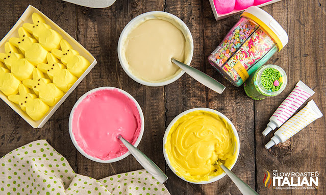 colored fudge in bowls