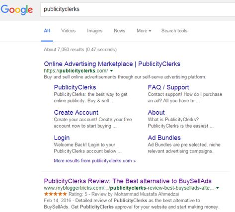 publicityclerks google rank