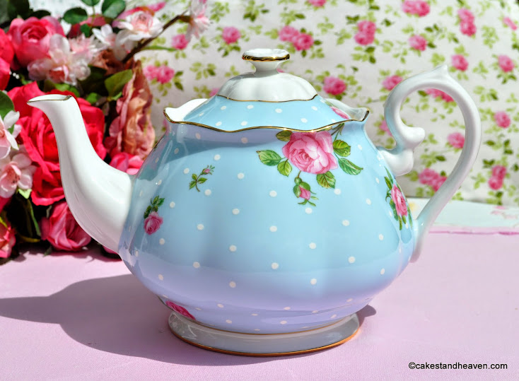 Royal Albert Blue Polka Dot and Roses Teapot