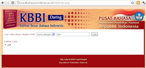 Tampilan situs Kamus Besar Bahasa Indonesi di kemendiknas