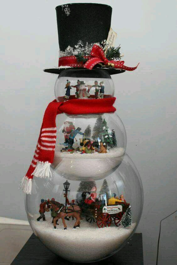 Crea hermosas decoraciones navide as usando peceras dobles for Elaboracion de adornos navidenos