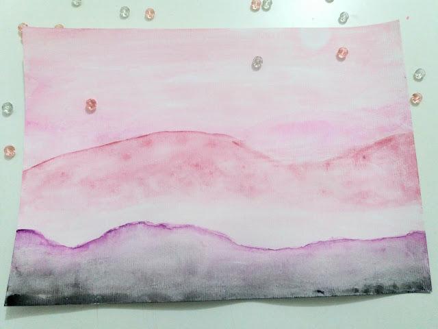 Pink Watercolor Landscape