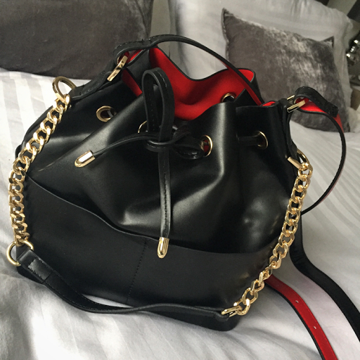 Miss Selfridge unlined black bucket bag