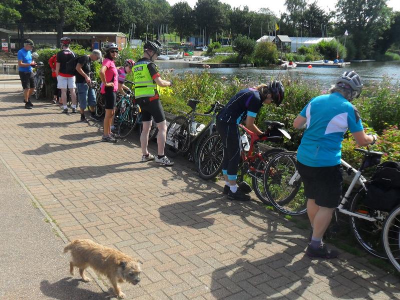 Group with bikes at lake