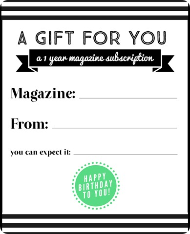 magazine subscription gift birthday