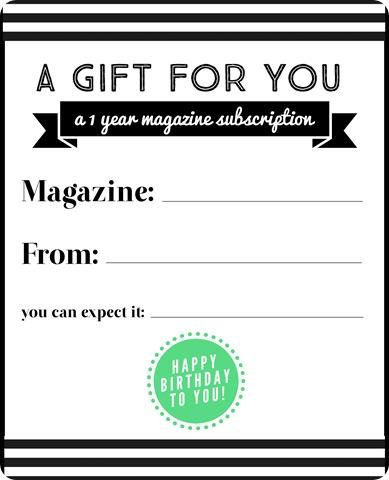 magazine subscription gift birthday