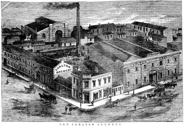 Woodcut image of the Carlton Brewery, 1870