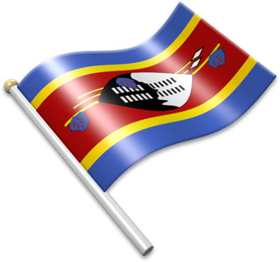 The Swazi flag on a flagpole clipart image