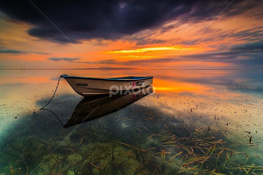 The Sky Opening.. by Budi Astawa - Transportation Boats ( bali, sanur, sunrise, denpasar, water, device, transportation )