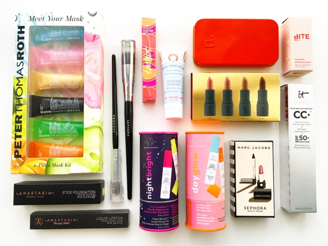 sephora uk beauty haul, makeup, skincare, peter thomas roth masks, bite beauty multistick cashew, drunk elephant uk, sephora pro brushes, abh allison, abh stick foundation warm tan, it cosmetics cc cream review